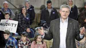 Conservative Leader Stephen Harper speaks during a campaign stop at a farm in Wainfleet, Ont., on April 4, 2011.