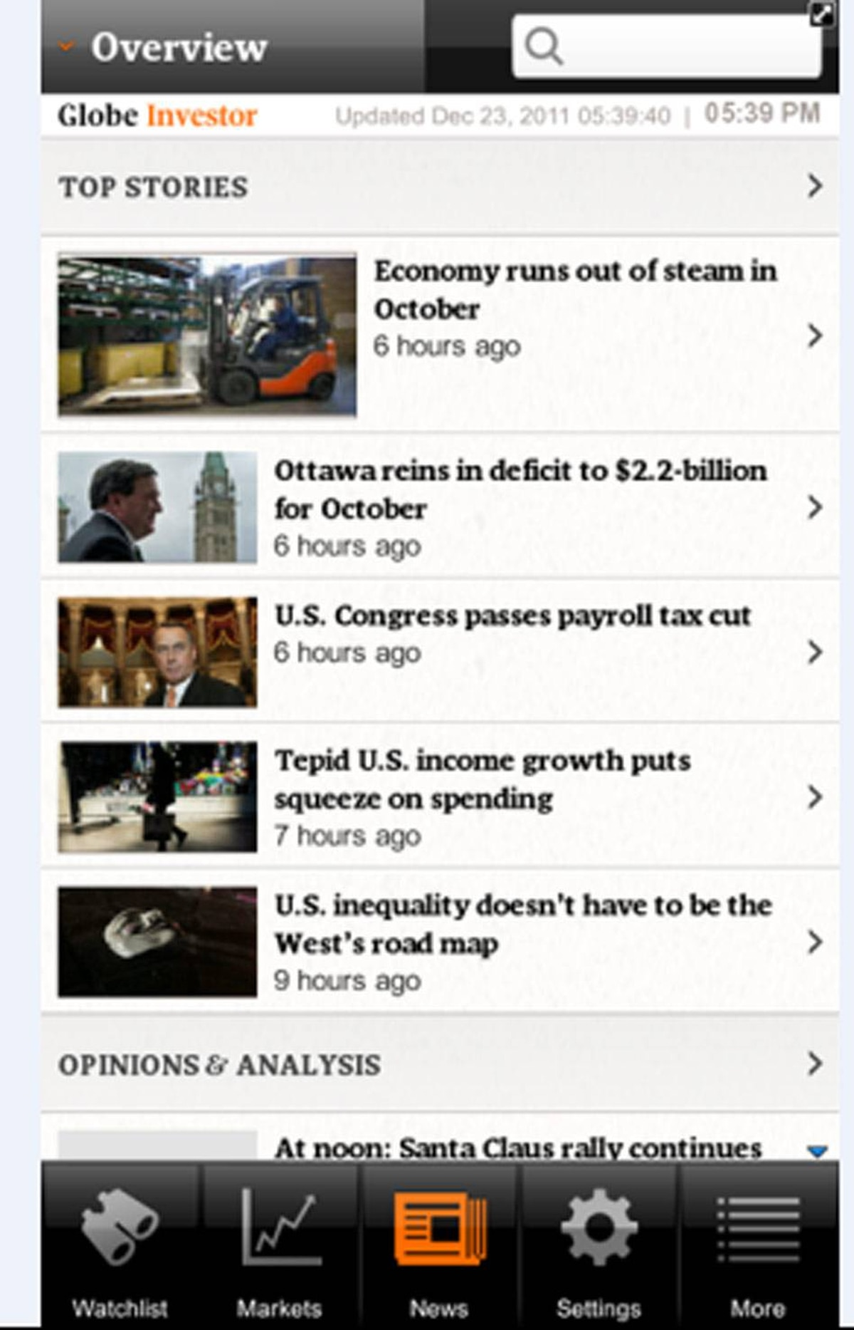 The app gives users award-winning, world-class editorial content from the Globe about the economy, business and investing. The app also features a live suggest function to make searches quick and easy.
