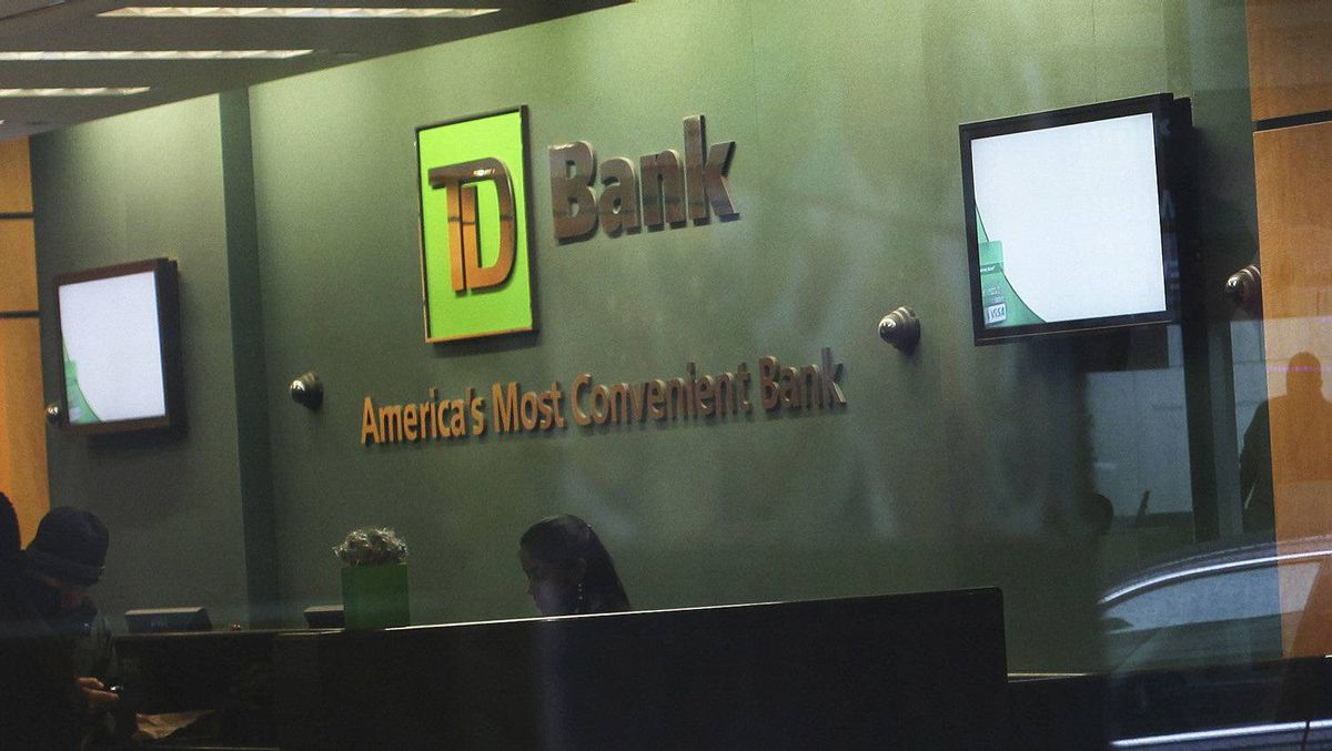 The inside of a TD Bank branch is seen in New York January 17, 2012.