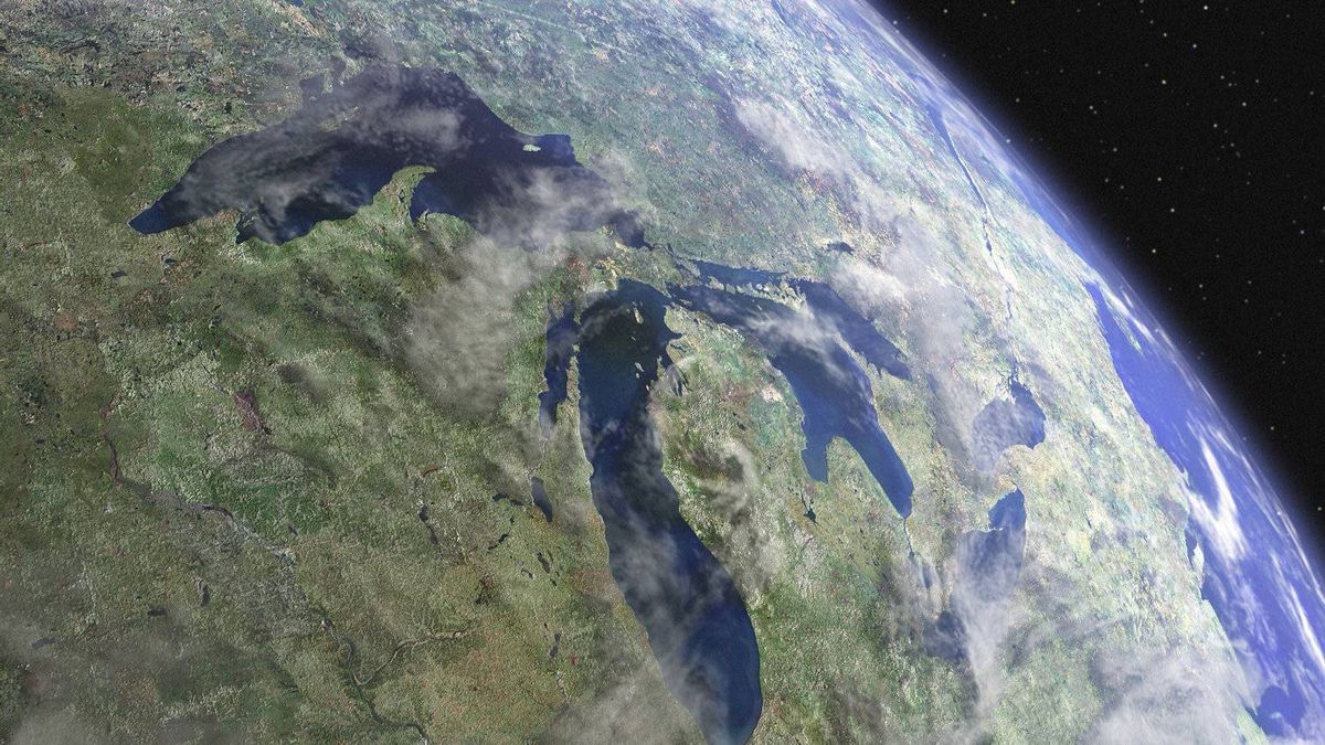 Still from the film Waterlife The Great Lakes, pouring toward the Atlantic Ocean, as seen from space. The lakes contain approximately 20 per cent of the surface fresh water on earth and more than 90 per cent of that available to the United States.
