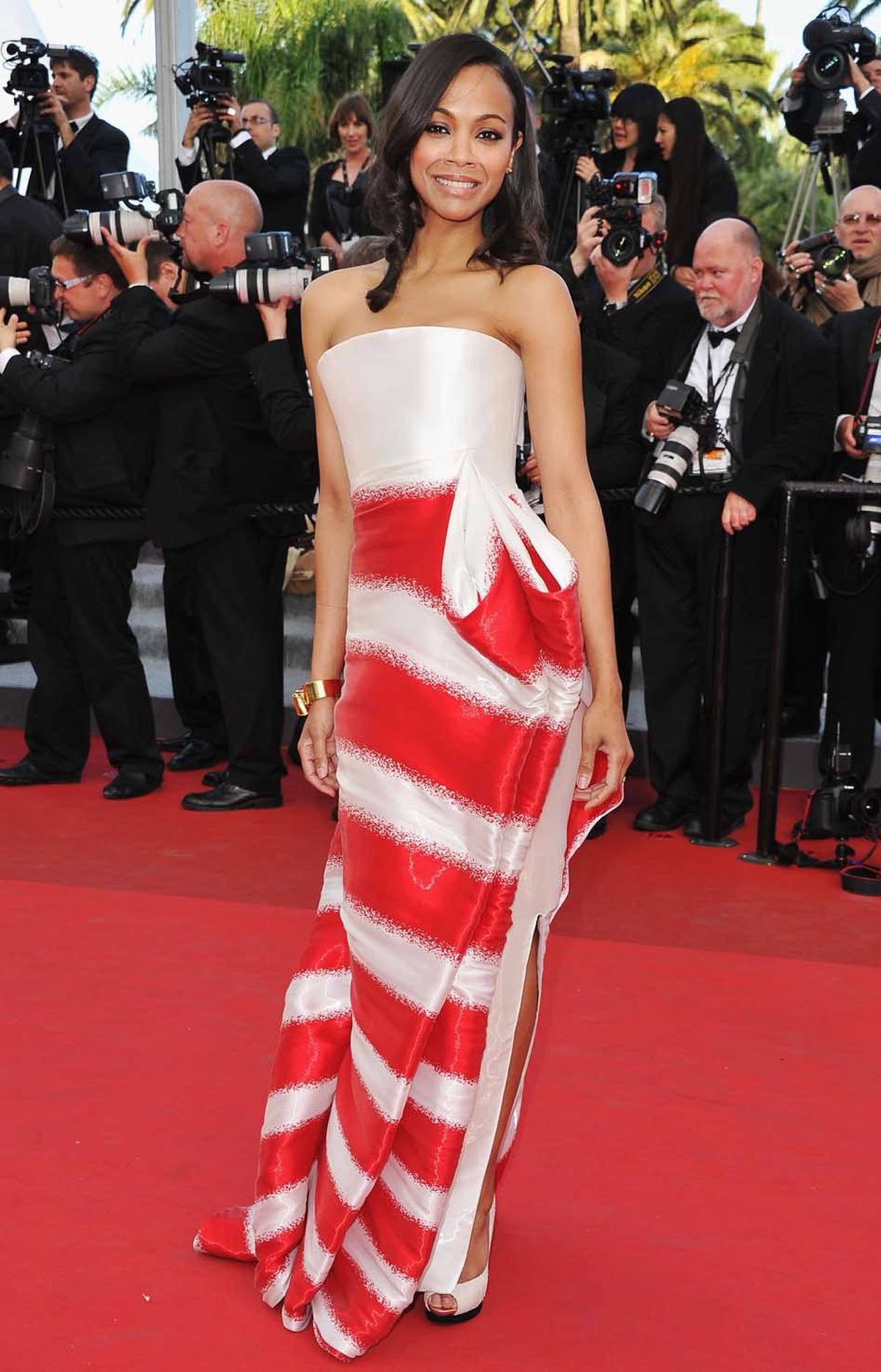 """Actress Zoe Saldana attends """"The Tree Of Life"""" premiere at the Cannes Film Festival on Monday."""