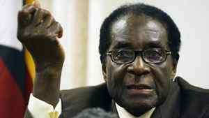 This file photo taken on December 23, 2009 shows Zimbabwean President Robert Mugabe speaking during a press conference as Prime Minister Morgan Tsvangirai (unseen) and Deputy Prime Minister Arthur Mutambara (unseen) listen at Zimbabwe house in Harare. Zimbabwe's shaky unity government marks two years in power on February 11, 2011 but President Robert Mugabe's call for early polls has sparked fears of sweeping violence that marred the 2008 presidential vote.