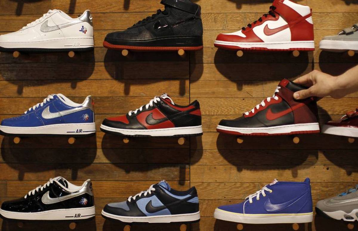 Nike shoes are displayed at a Niketown store in Beverly Hills, California.