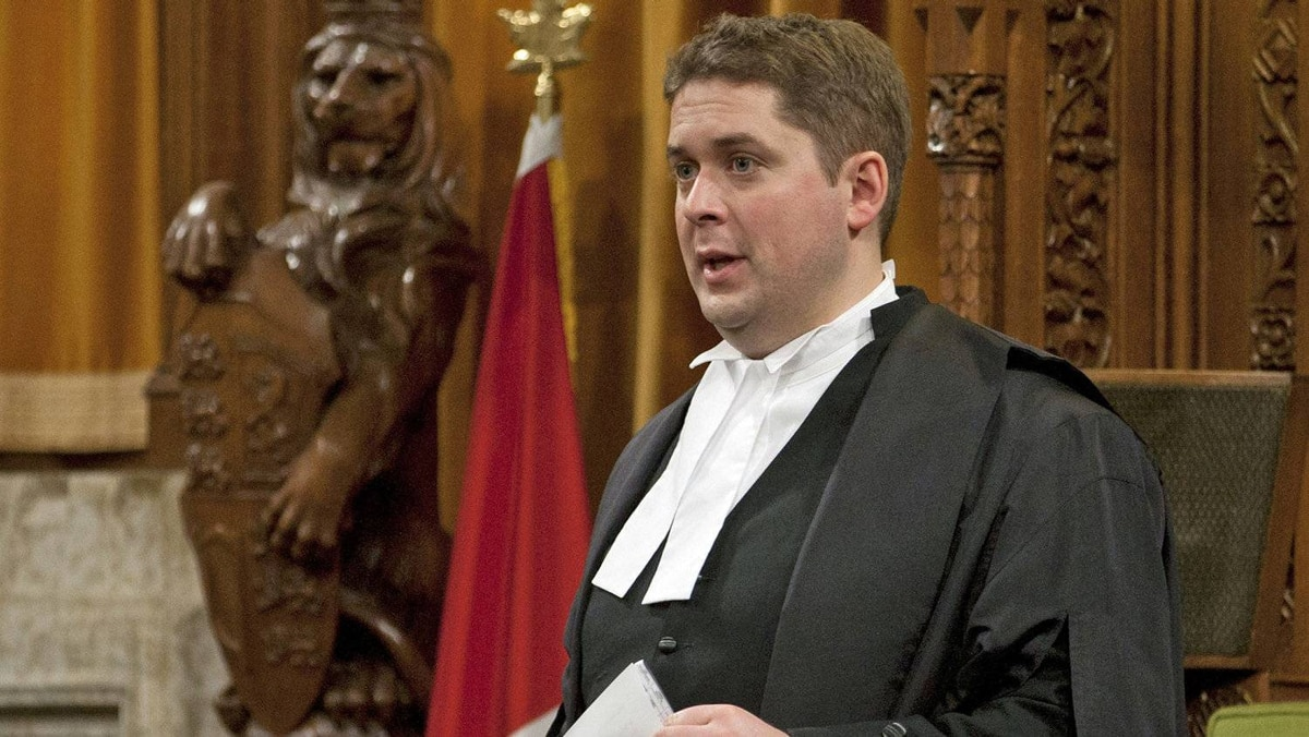 Speaker of the House of Commons Andrew Scheer rises at the end of Question Period in the House of Commons in Ottawa on Dec. 15, 2011.