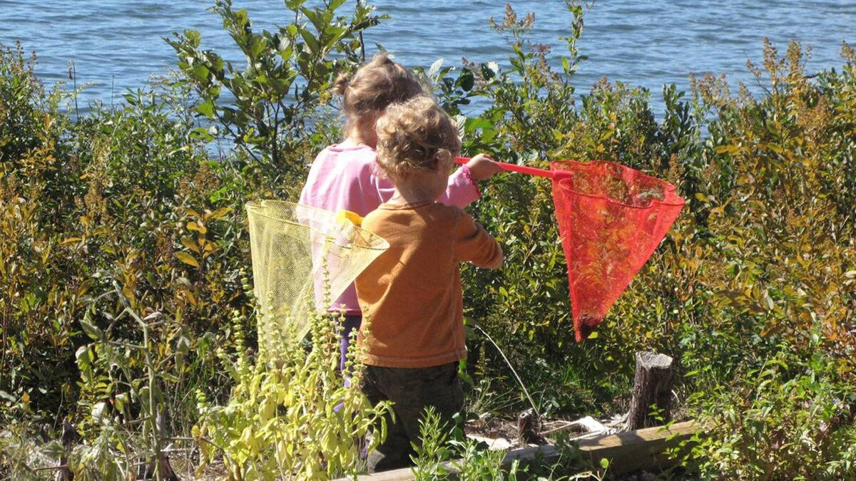Children Marco and Chloe spend hours hunting for snakes and tadpoles
