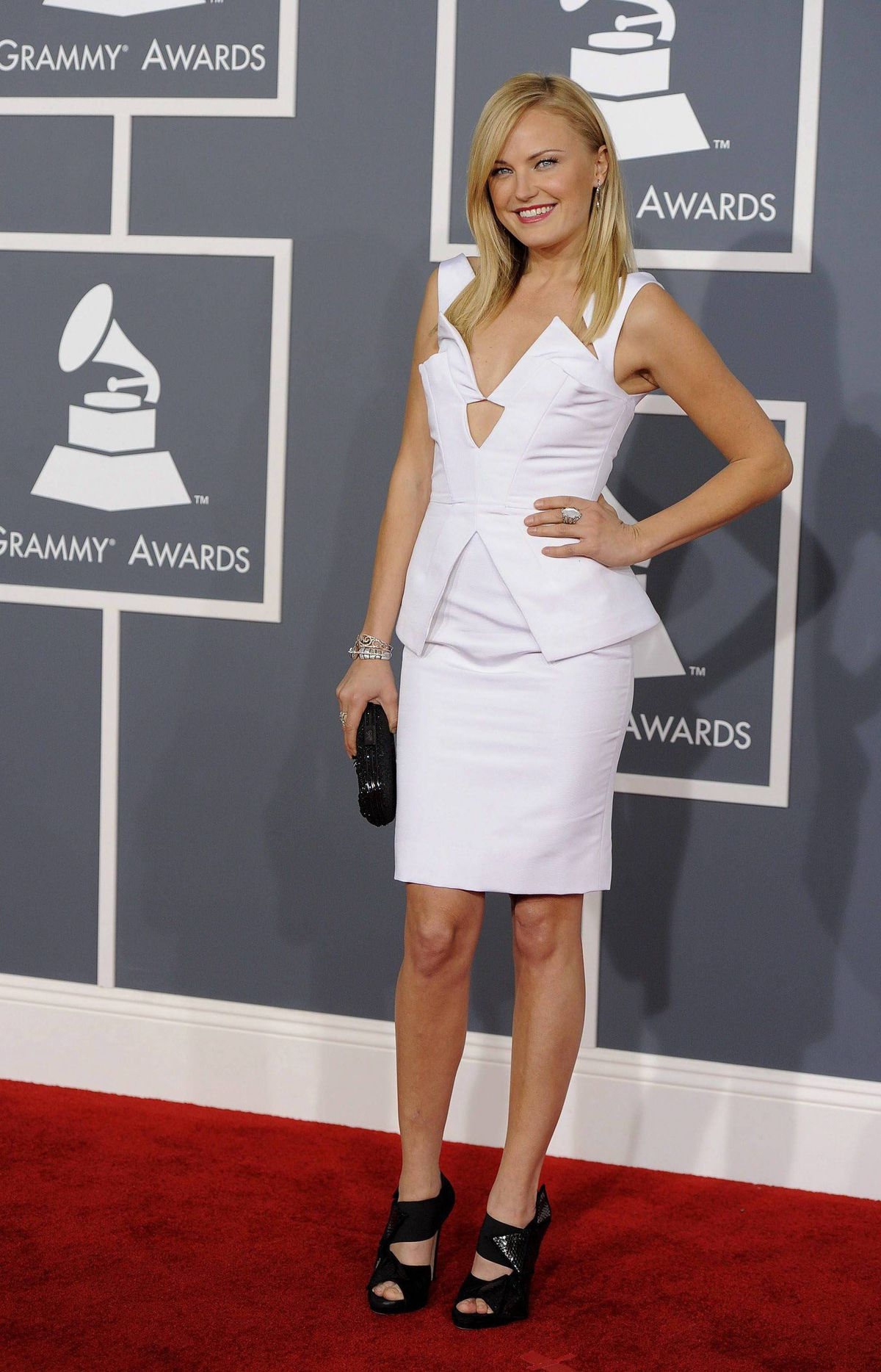 Malin Akerman arrives at the 54th annual Grammy Awards on Sunday, Feb. 12, 2012 in Los Angeles.