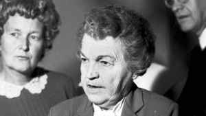 Mississauga Mayor Hazel McCallion holds the Grange Report on the Mississauga Railway Accident Inquiry Jan. 19, 1981. A CP Rail train from London, destined for Toronto, derailed at Marvis Road in Mississauga. Two train cars were loaded with propane and exploded, causing considerable damage.