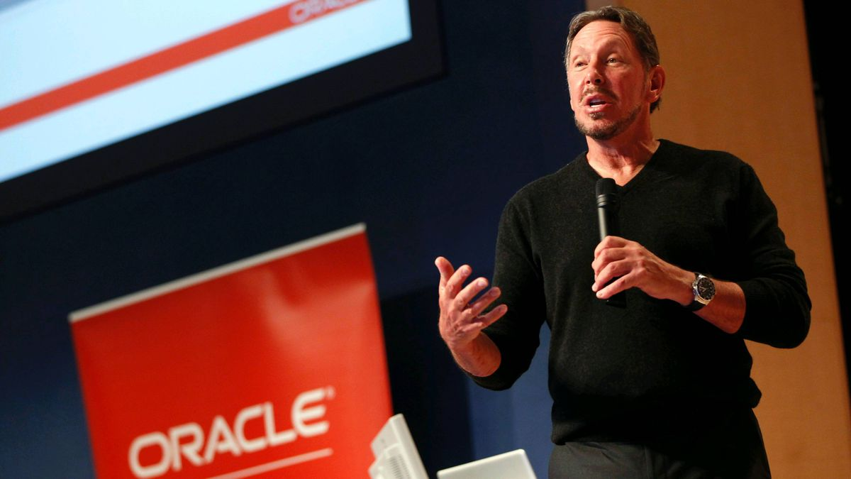 Oracle CEO Larry Ellison speaks at the company's headquarters in Redwood City