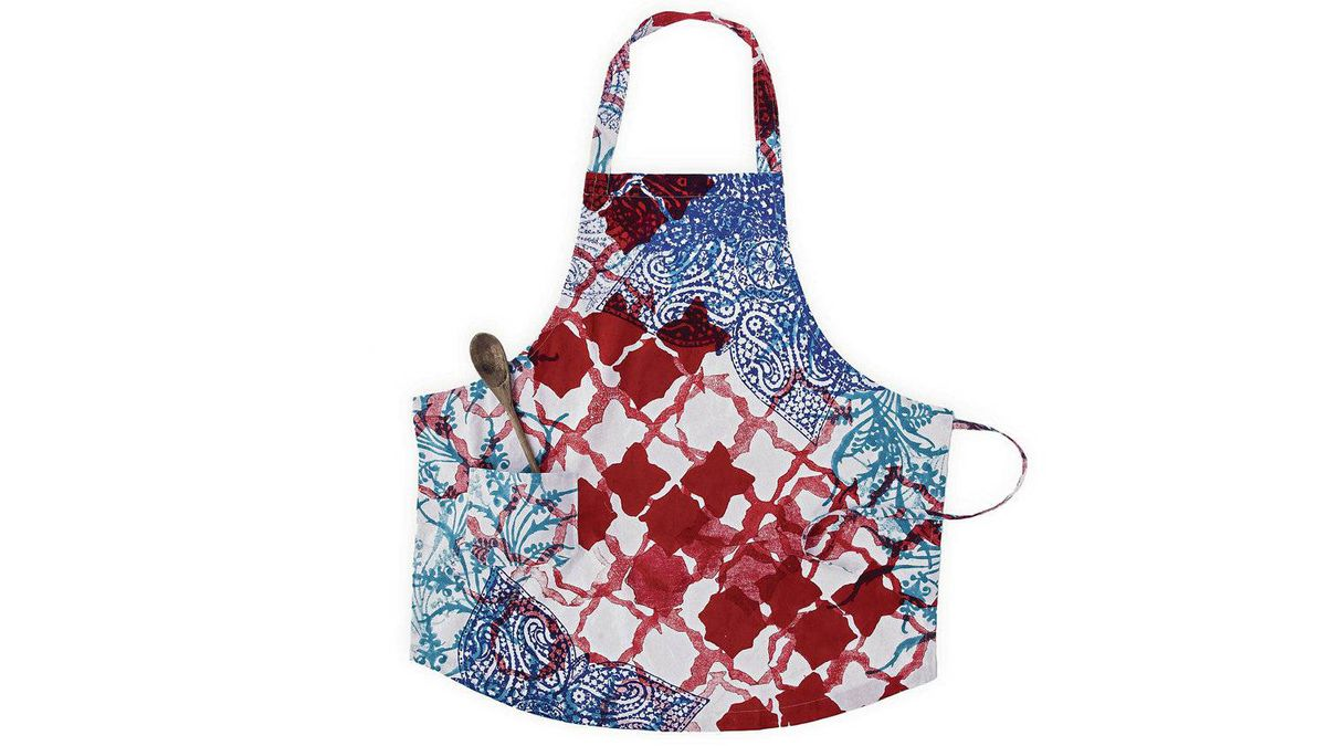 Mom will look as good as her dishes in this fashion-forward apron sporting a blockprint Indian motif. John Robshaw hand-block-printed cotton Cove apron, $50. johnrobshaw.com