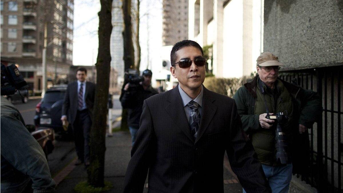 RCMP Cpl. Benjamin (Monty) Robinson arrives at the B.C. Supreme Court , Monday, Feb. 13, 2012.