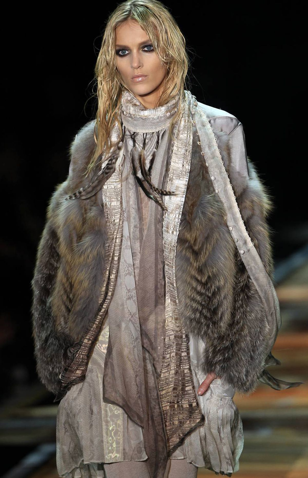 Feathers, on the runway