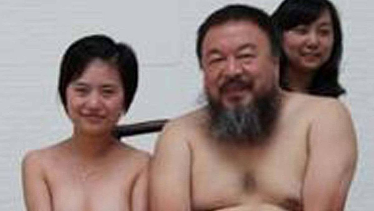 Detail of a year-old photo of Chinese artist Ai Weiwei and four women, in which all five subjects are naked. Last Thursday, Ai's cameraman Zhao Zhao was reportedly questioned by police for four hours about the photo on the grounds he was spreading pornography.
