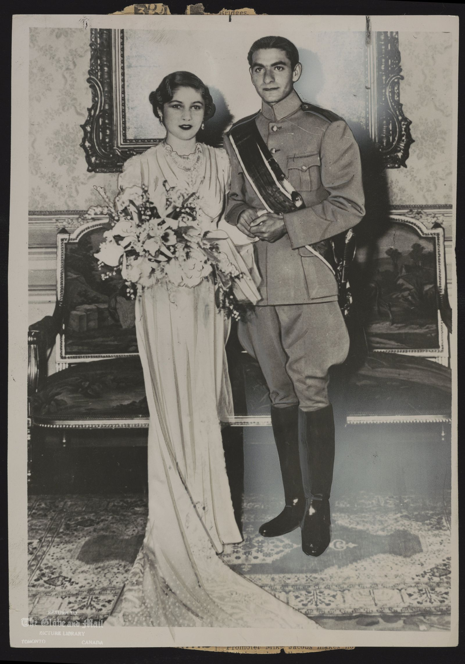 ROYAL FAMILY Iran Shah Reza Pahlavi The Shahpur Mohammed Riza, 19-year-old Crown Prince of Iran, and his bride, Princess Fawzia, 17-year-old sister of King Farouk of Egypt.