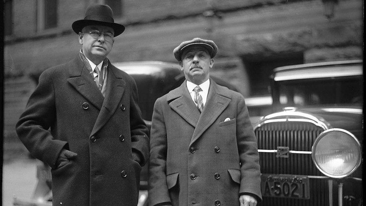 On the left, Commissioner of Public Works, R.C. Harris and George Rogers in Toronto.