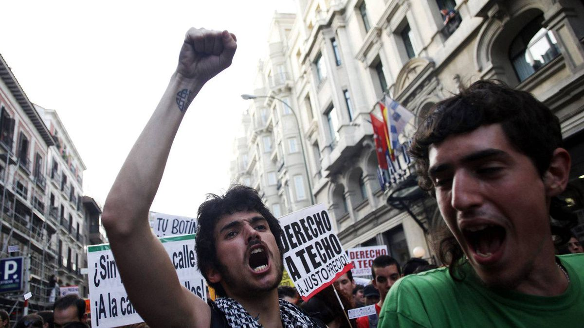 Protesters shout slogans during a demonstration in Madrid in April under the slogan 'Youth with no future' to protest against Spain's high youth unemployment rate and government spending cuts.