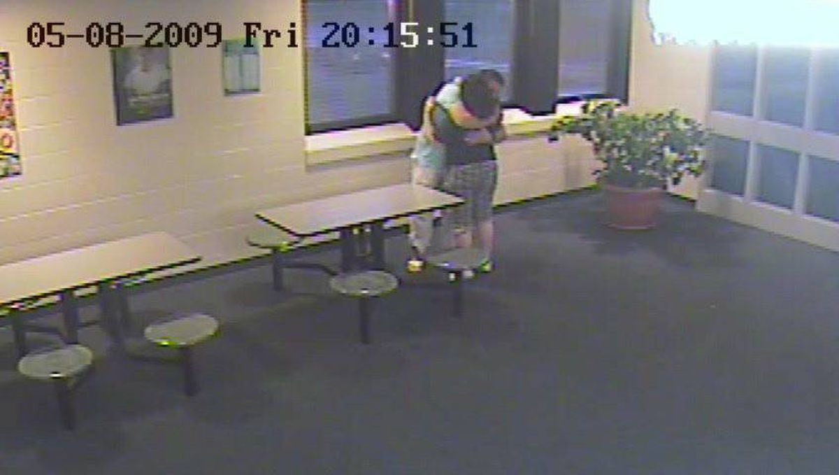 Michael Rafferty and Terri-Lynne McClintic embrace in this still image taken from a police handout video dated May 8, 2009. Rafferty visited McClintic twice at a detention centre, where she was taken after being arrested days after the killing of Victoria Stafford on an unrelated matter.