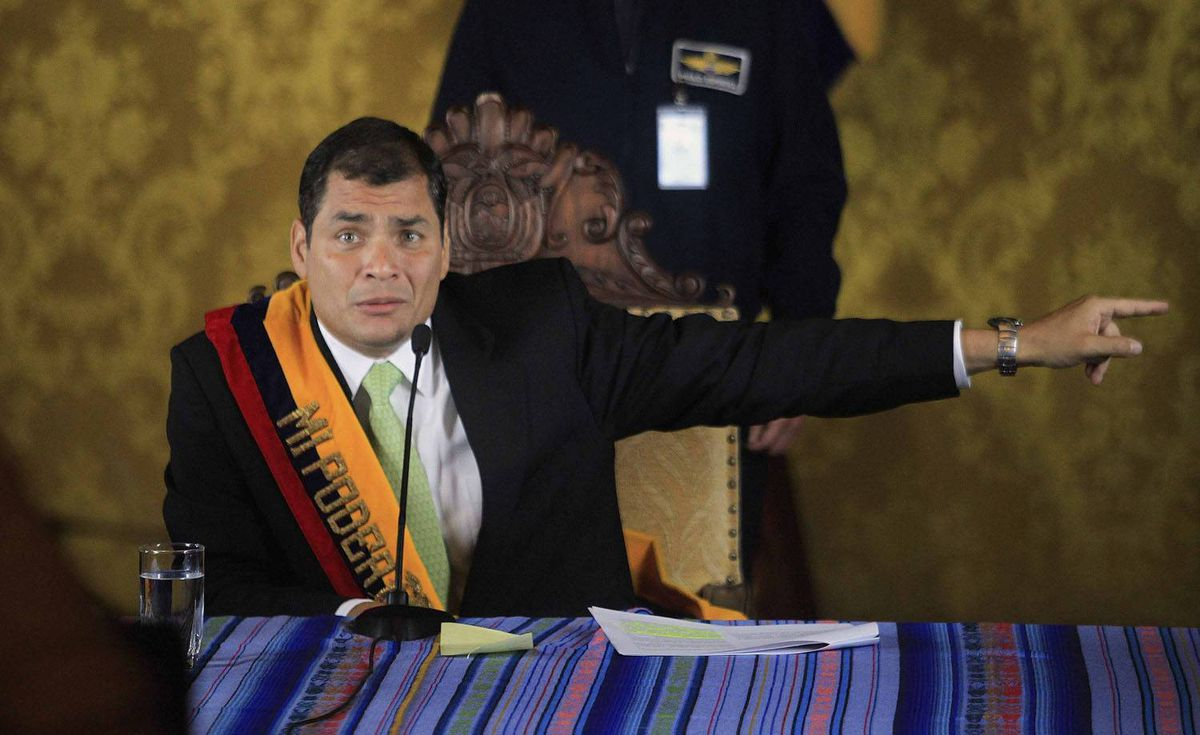 Ecuador's President Rafael Correa speaks during a news conference inside the Carondolet Palace after being recued from rebel police. Guillermo Granja/Reuters