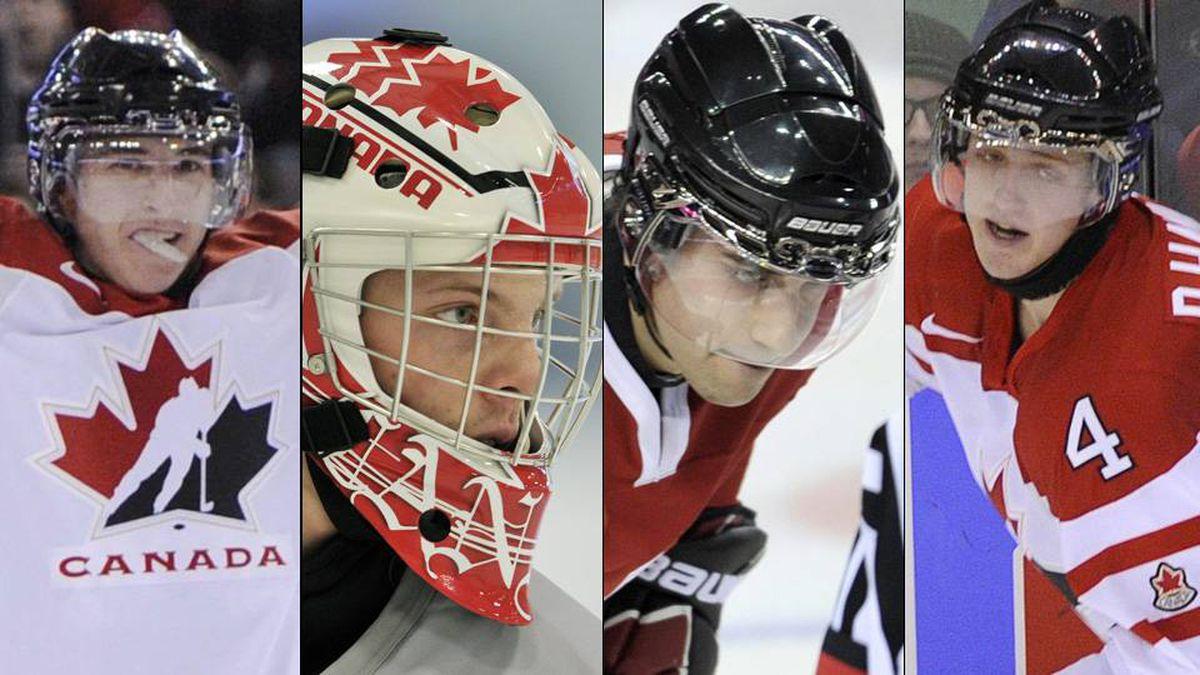Team Canada players, from left, Ryan Strome, Mark Visentin, Freddie Hamilton and Dougie Hamilton.