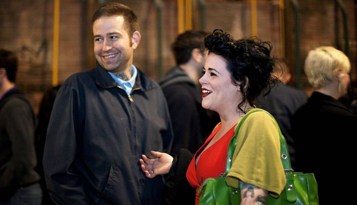 Rob Dean (left) and Ashley Jacot De Boinod at La Carnita's Uno: The Art Show at Evergreen Brick Works.