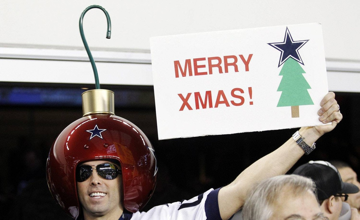 Greg Wilson shows his Christmas spirit during an NFL football game between the Philadelphia Eagles and Dallas Cowboys, Saturday, Dec. 24, 2011, in Arlington, Texas. The Eagles won, 20-7.