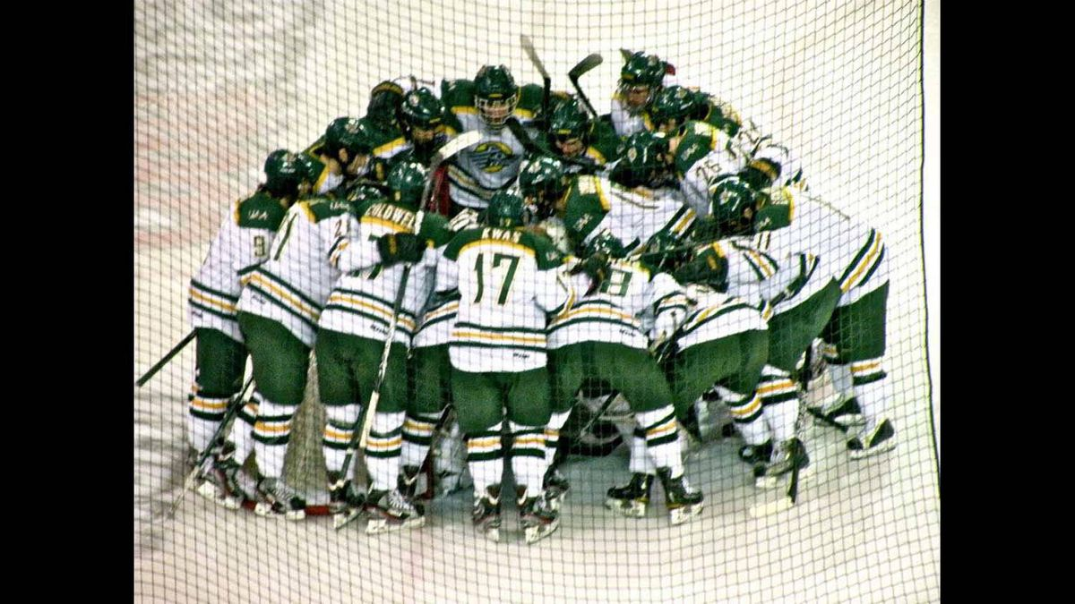 The UAA Seawolves pump each other up before their game in Minnesota on Saturday, March 9, 2012