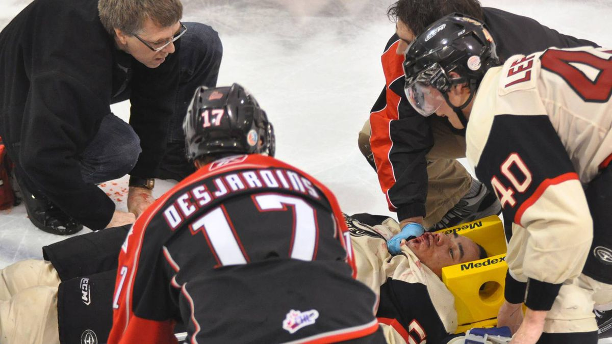 Quebec Remparts' Mikael Tam is wheeled off the ice on a stretcher following a hit from Rouyn Noranda's Patrice Cormier during QMJHL action in Rouyn-Noranda, Que, Sunday, Jan.17, 2010. Tam was listed in stable condition in hospital after taking an elbow to the head from Cormier, who captained Canada at the recent world junior hockey championship.THE CANADIAN PRESS/Dominic Chamberland