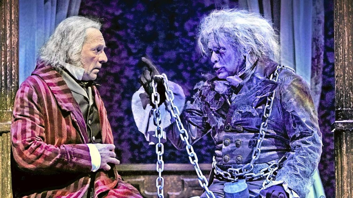 """Stephen Hair as Scrooge and Robert Graham Klein as Jacob Marley in """"A Christmas Carol"""" at Theatre Calgary"""