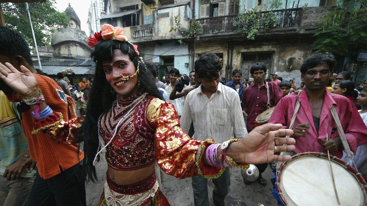 A festival procession through the streets of Calcutta, India.