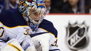 Buffalo Sabres goalie Ryan Miller watches the puck after making a save against the Vancouver Canucks during the first period of an NHL hockey game in Vancouver, B.C., on Saturday March 3, 2012. THE CANADIAN PRESS/Darryl Dyck