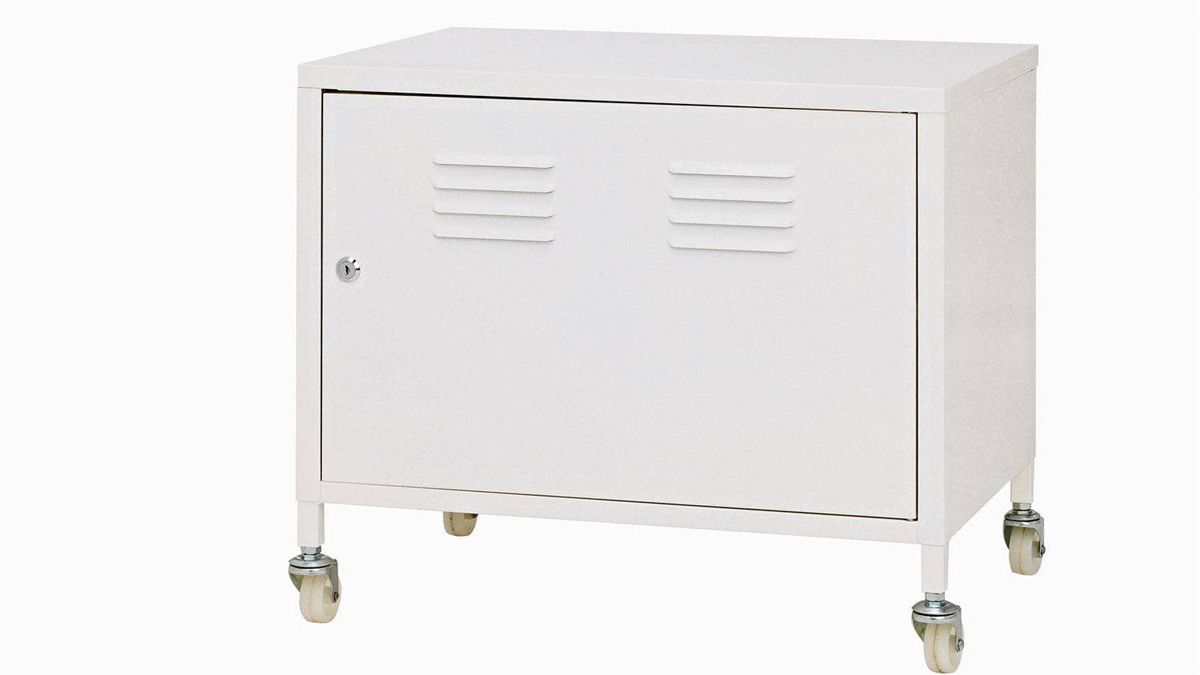 IKEA's PS Cabinet is made of white powder-coated steel and features an adjustable interior shelf, lockable door and castered legs for portability. $59.99 through www.ikea.ca.