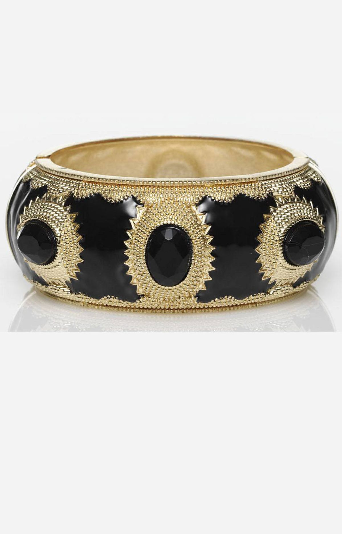 Black and gold bracelet by Expression, $30 at The Bay (www.thebay.com).