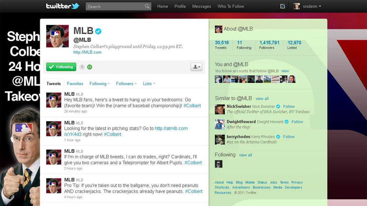 A screengrab of @MLB, Major League Baseball's twitter account, taken over for 24 hours by comedian Stephen Colbert.
