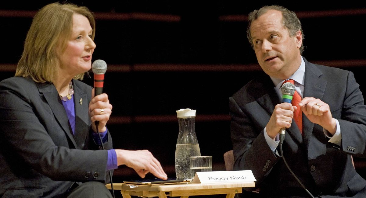 NDP contenders Peggy Nash and Brian Topp spar during a leadership debate in Montreal on Jan. 25, 2012.