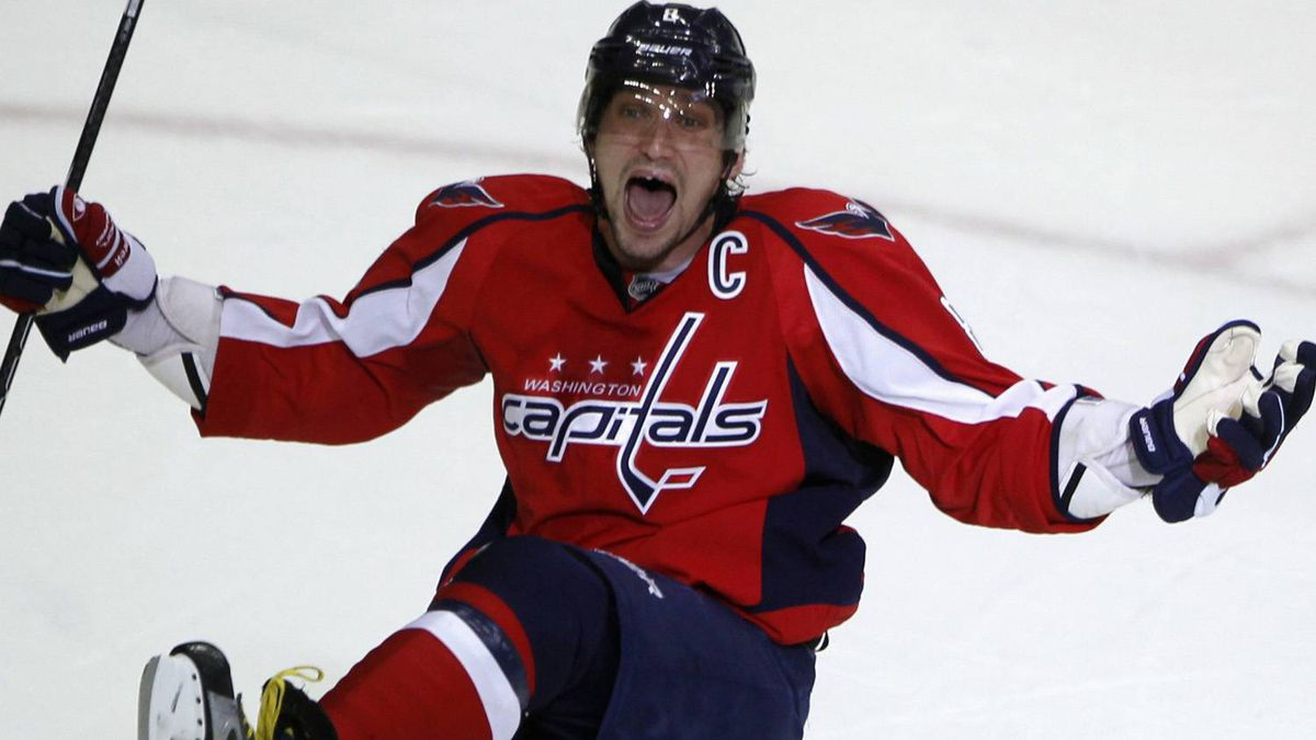 Washington Capitals left wing Alex Ovechkin celebrates after scoring against the Boston Bruins in the third period of Game 6 of their NHL Eastern Conference quarter-final hockey playoff series in Washington April 22, 2012. REUTERS/Jason Reed