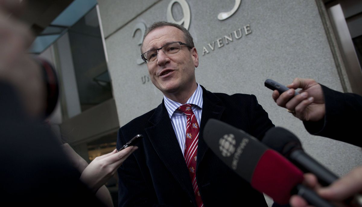 Defeated Liberal candidate Borys Wrzesnewskyj talks to reporters outside court in Toronto Apr. 23, 2012. Wrzesnewskyj is requesting the court to throw out the result of the May election in Etobicoke Centre due to serious voting irregularities.