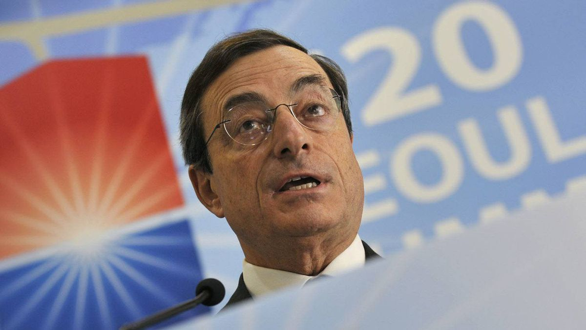 Mario Draghi, chairman of the Financial Stability Board, speaks at a press conference on the sidelines of G20 summit in Seoul .