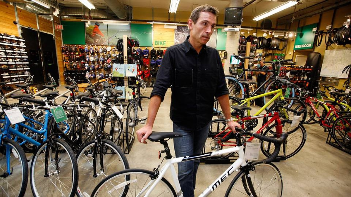 David Labistour, CEO of Mountain Equipment Co-op, talk about the new line of bikes designed by the company, now for sale in Toronto.