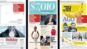 The Globe's front page entries, designed by Jason Chiu, following the paper's redesign in 2010.
