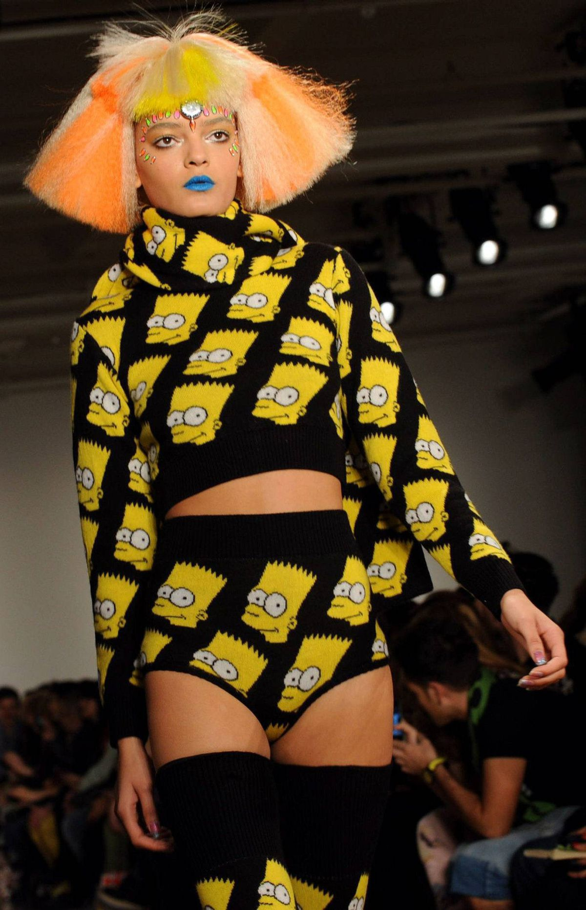 """Ay Carumba! If there were an American equivalent to """"enfant terrible"""" Jeremy would be it. And on the penultimate day of New York Fashion Week, Bart Simpson bloomers, keyboard print pants, stuffed animal stoles and rainbow manga hair was exactly the kooky comic relief that everyone needed."""