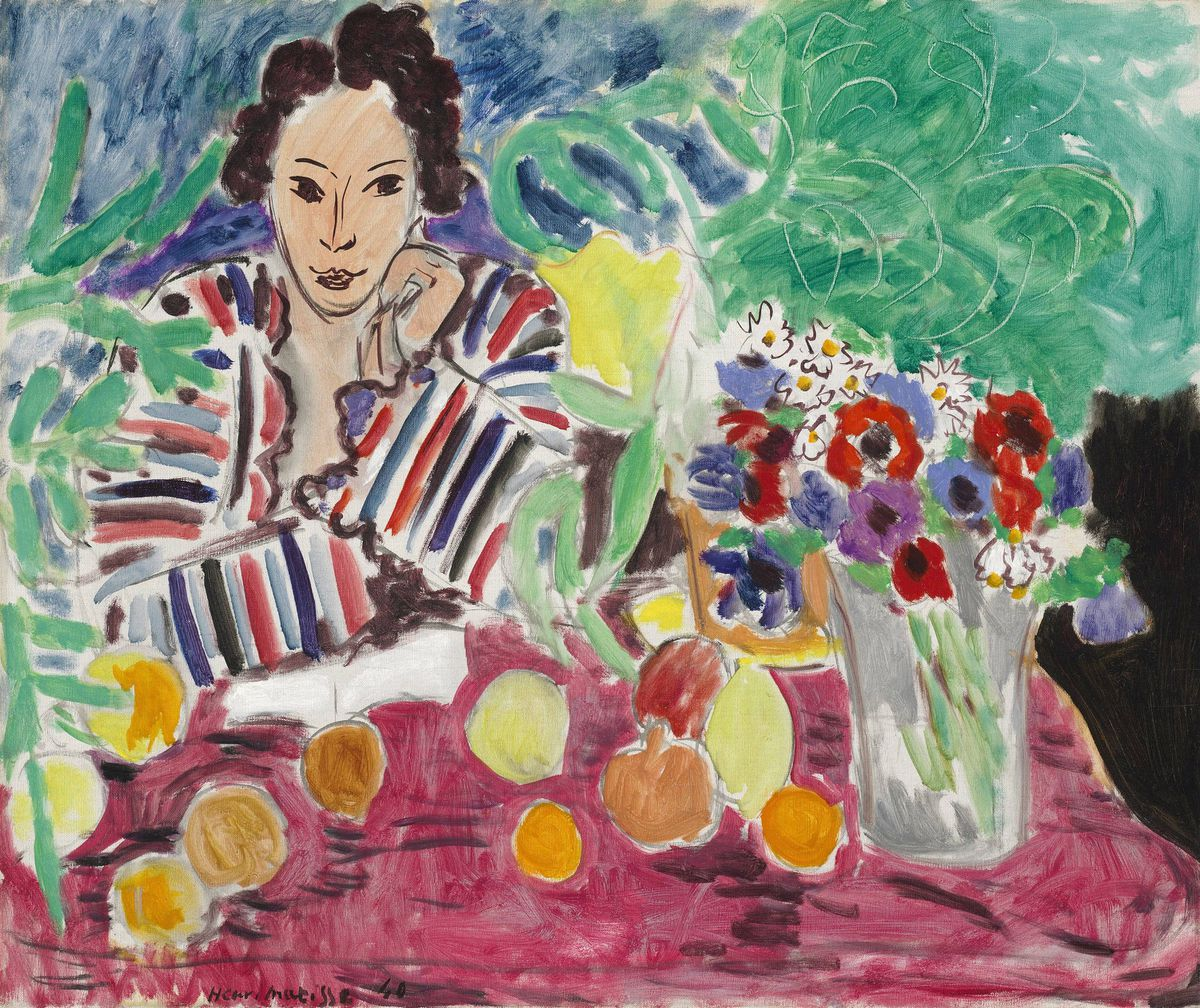 HenriMatisse, Striped Robe, Fruit, and Anemones, 1940, oil on canvas, The Baltimore Museum of Art: The Cone Collection, formed by Dr. Claribel Cone and Miss Etta Cone of Baltimore, Maryland, BMA