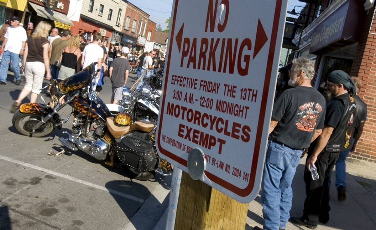 Thousands of bikers and fans of bikes, and those just wanting to view the spectacle descended upon Port Dover, Ontario for the 50th Friday the 13th Ride to Port Dover.Downtown parking was restricted to motorcycles only.