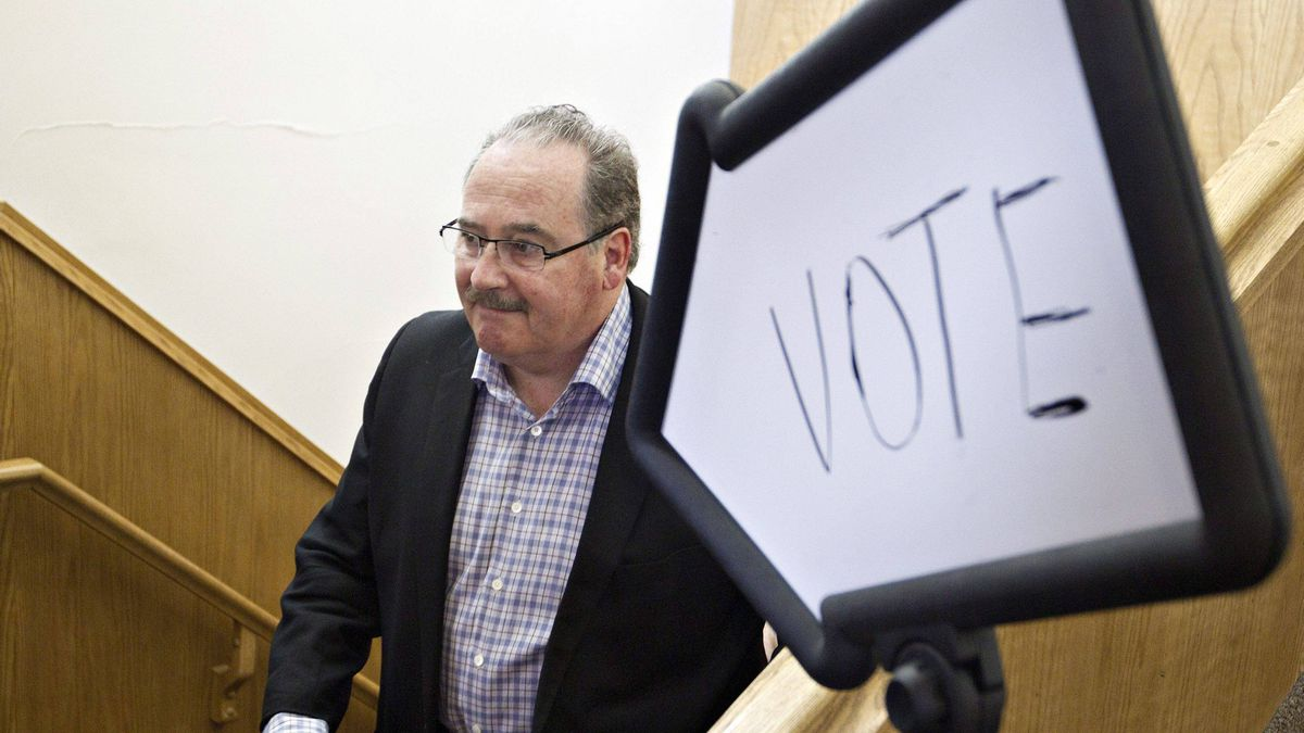 Alberta NDP Leader Brian Mason leaves the polling station after casting his ballot in the provincial election in Edmonton, Monday April 23, 2012.