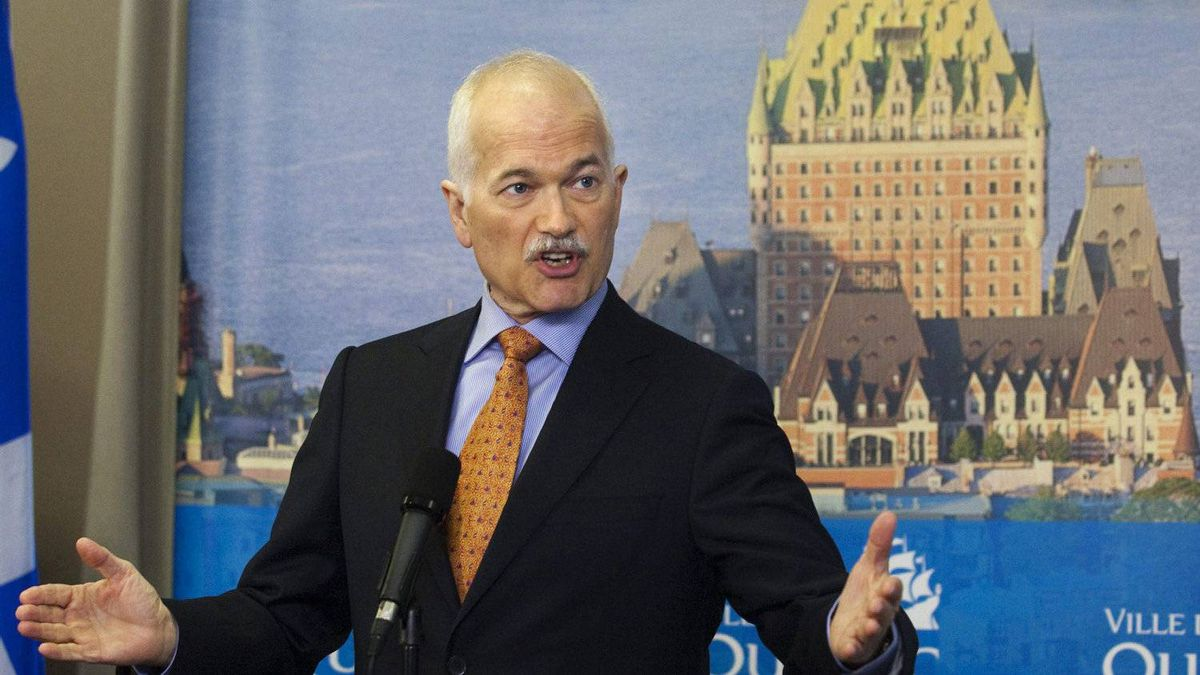 NDP Leader Jack Layton reponds to reporters questions at a news conference Monday, April 18, 2011, in Quebec City.