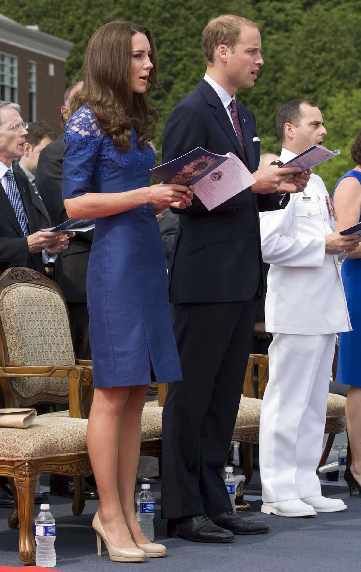 Kate is the picture of elegance in a royal blue dress by British designer Erdem at a ceremony on HMCS Montreal in Quebec City on July 3.
