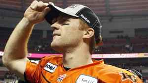BC Lions quarterback Travis Lulay looks into the stands after defeating the Edmonton Eskimos during the second half of their CFL Western Conference Final football game in Vancouver, British Columbia, November 20, 2011. REUTERS/Ben Nelms