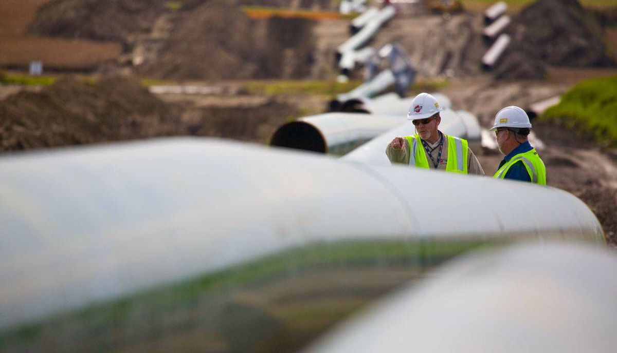 A portion of TransCanada's Keystone pipeline under construction