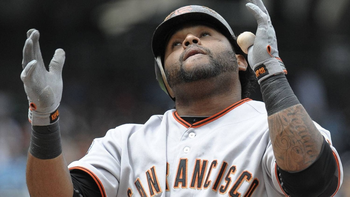 Pablo Sandoval #48 of the San Francisco Giants celebrates after hitting a solo home run during the first inning of a baseball game against the San Diego Padres at Petco Park on September 5, 2011 in San Diego, California. (Photo by Denis Poroy/Getty Images)