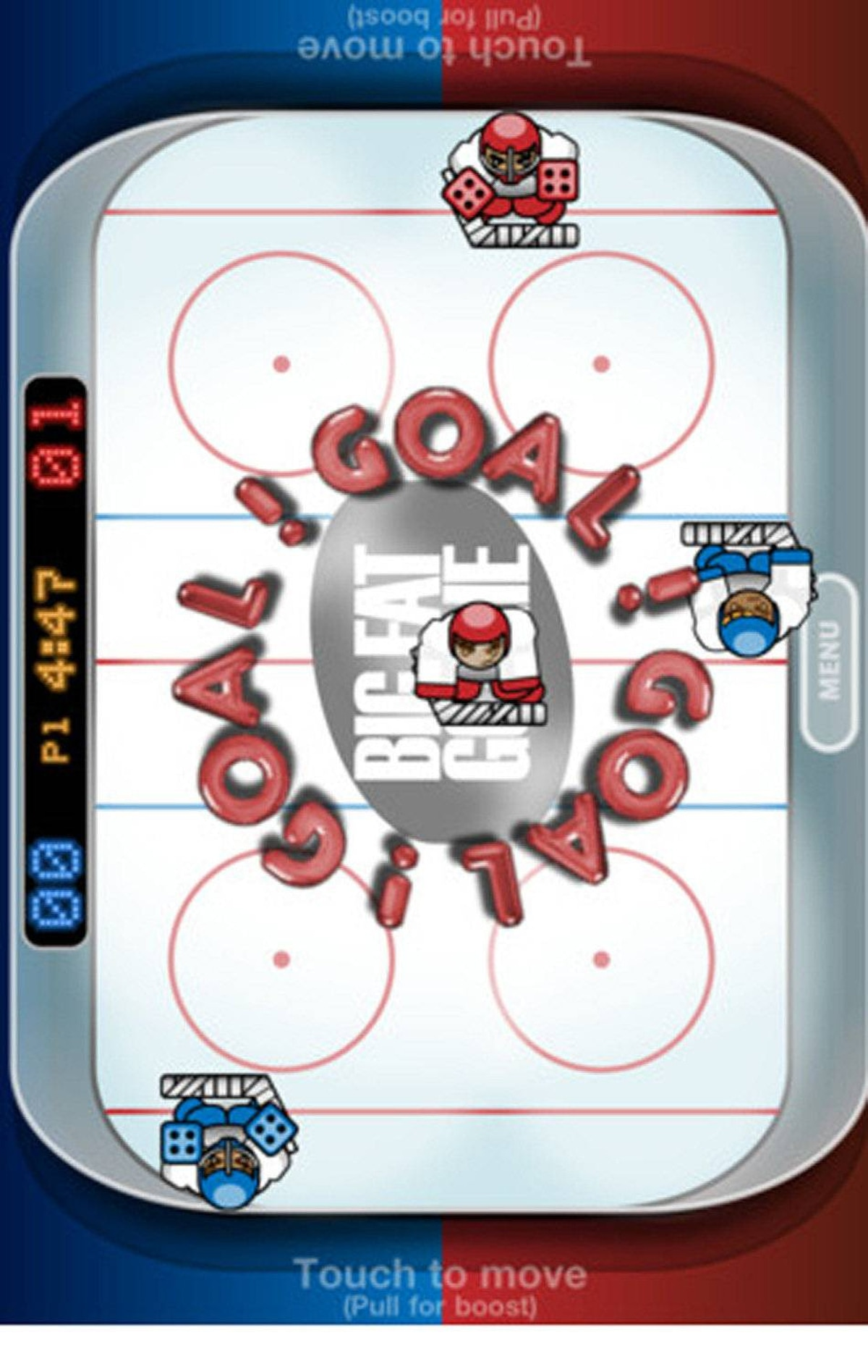 Big Fat Goalie (iPad/iPhone/iPod touch) This is a great, kid-friendly version of table-top hockey. Each player controls one side of the ice. There's no net, just a goal line, and the puck bounces off everything. Move your players to block the puck and send it back to the other side. Don't tell the kids but Big Fat Goalie is basically Pong with organ music, great sound effects, and big, chunky graphics. It's big fun for a buck. ($0.99, swipeware.com)