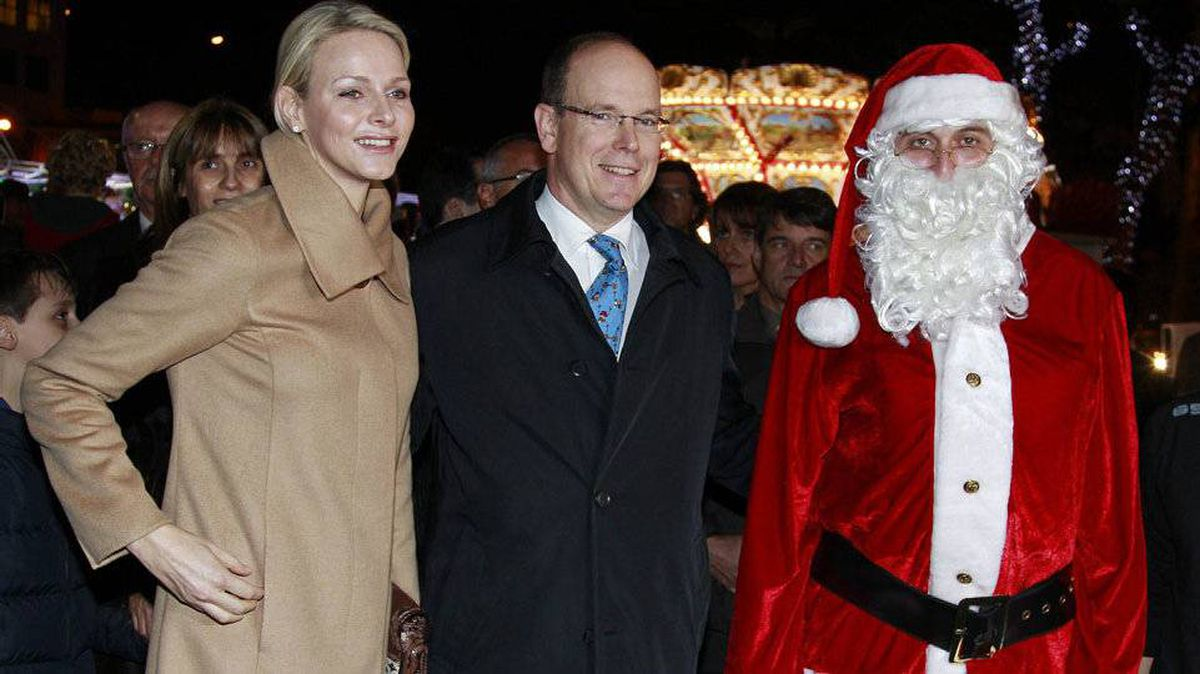 Santa meets Prince Albert II of Monaco and his wife, Princess Charlene, during the inauguration of the Christmas village in Monaco.