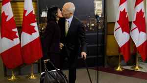 New Democratic Party leader Jack Layton kisses his wife Olivia Chow after speaking to the media following the English language federal election debate in Ottawa Ont., on Tuesday, April 12, 2011.